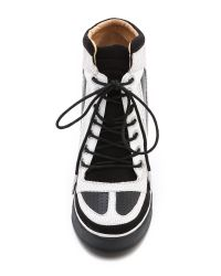 L.A.M.B.   Black Summer Lace Up Wedge Sneakers   Lyst