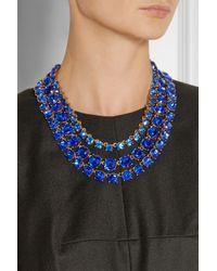 Oscar de la Renta | Blue Gold-Plated Crystal Necklace | Lyst