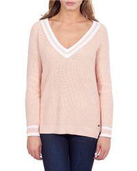 William Rast | Pink Striped Tennis Sweater | Lyst