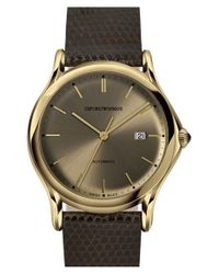 Emporio Armani | Brown Automatic Lizardskin Strap Watch for Men | Lyst