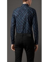Burberry - Blue Slim Fit Abstract Check Cotton Shirt for Men - Lyst