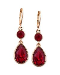 Nine West - Goldtone Faceted Red Stone Double Drop Earrings - Lyst