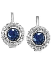 Carolee | Metallic Silver-Tone Blue Glass Stone Clip-On Button Earrings | Lyst