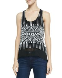 Parker - Tribal Beaded Layered Tank Black Xs - Lyst
