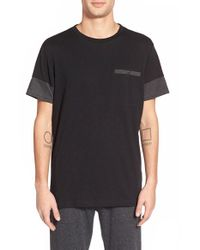 Ezekiel | Black 'perry' Cut And Sew Pocket Crewneck T-shirt for Men | Lyst