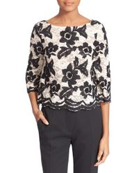 Tracy Reese Black Embellished Lace Crop Top