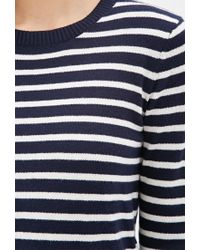 Forever 21 - Blue Striped Crew Neck Sweater - Lyst