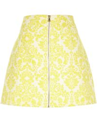 River Island - Yellow Jacquard Zip Front Skirt - Lyst
