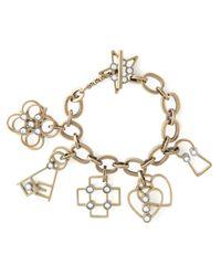 Lanvin | Metallic Heart, Cross, Flower Charm Bracelet | Lyst
