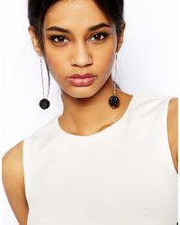 Lipsy - Black Glitter Ball Drop Earrings - Lyst