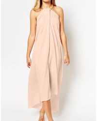 ASOS - Pink Halter Swing Maxi Dress With Gold Necklace - Lyst