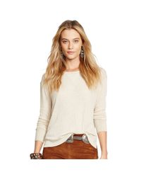 Polo Ralph Lauren - Natural Suede-trimmed Ribbed Top - Lyst