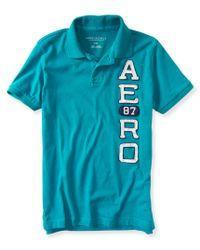 Aéropostale | Blue Aero87 Logo Jersey Polo | Lyst