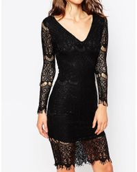 Sistaglam - Black Nina Long Sleeve Lace Dress - Lyst