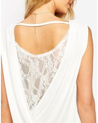 ASOS | Black Tall Top In Crepe With Twist Back And Lace Insert | Lyst