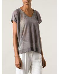 Duffy - Gray Semisheer Fine Knit Sweater - Lyst