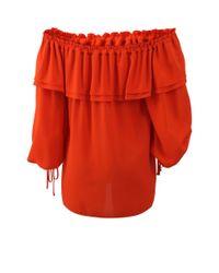 Michael Kors - Orange Off The Shoulder Blouse - Lyst