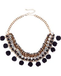 River Island | Metallic Gold Tone Pom Pom Statement Necklace | Lyst