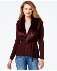 Guess | Purple Belted Faux-fur-detail Sweater | Lyst