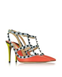 Valentino - Rockstud Multicolor Leather Ankle Strap Pump - Lyst
