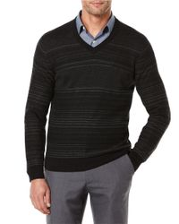 Perry Ellis | Black Striped V-neck Sweater for Men | Lyst