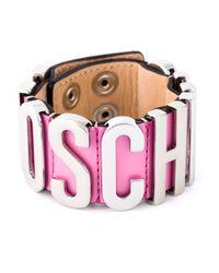 Moschino | Pink Logo Plaque Cuff | Lyst