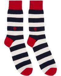 Alexander McQueen - Blue - Striped Socks - Men - Silk/cotton/polyamide/spandex/elastane - One Size for Men - Lyst