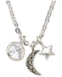 Judith Jack | Metallic Sterling Silver Crystal And Marcasite Moon Multi Charm Necklace | Lyst