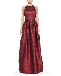 Alice + Olivia - Red Emilia Snake-Embossed Metallic Gown - Lyst