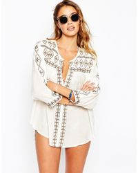 Melissa Odabash | Natural Milly Beach Shirt With Patterned Trim | Lyst
