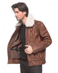 Andrew Marc - Brown Corsham Leather and Shearling Flight Jacket  for Men - Lyst