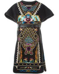 Valentino - Black Embroidered Dress - Lyst