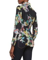 Georg Roth Los Angeles - Blue Butterfly-print Cotton Blouse - Lyst