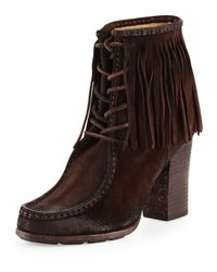 Frye - Brown Parker Fringe Lace-up Ankle Boot - Lyst
