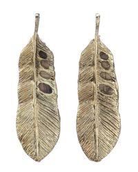 Chamak by Priya Kakkar | Metallic Set Of 2 - Gold Feather Drop And Crystal Detail Star Earrings | Lyst