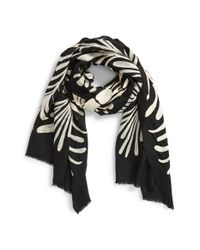 Tory Burch - Black 'Symphony' Embroidered Scarf - Lyst