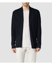 AllSaints - Blue Garrett Cardigan for Men - Lyst