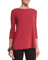 Eileen Fisher - Red 3/4-sleeve Lightweight Jersey Top - Lyst