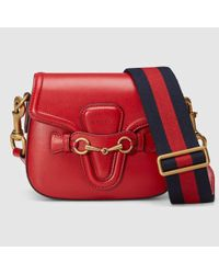 f78579c00be32c Gucci Lady Web Leather Shoulder Bag in Red - Lyst