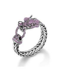 John Hardy | Pink Dragon Head Bracelet On Large Rectangular Chain | Lyst