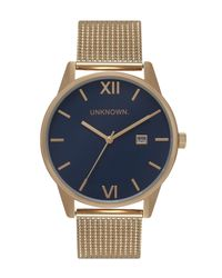 Unknown - Metallic The Dandy Navy And Gold Mesh Watch for Men - Lyst