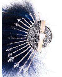 Fendi | Blue Fur and Crystal Brooch | Lyst