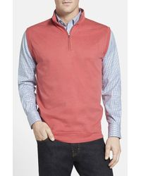 Peter Millar | Red Interlock Knit Quarter Zip Vest for Men | Lyst