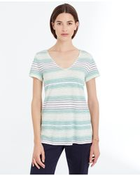 Ann Taylor | Green Striped Linen Blend V-neck Tee | Lyst