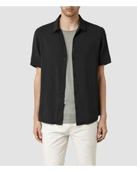 AllSaints - Black Poitiers Short Sleeved Shirt for Men - Lyst