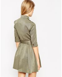 ASOS | Green Military Belted Skater Dress | Lyst