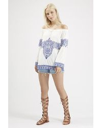 TOPSHOP - Blue China Doll Embroidery Top By Jovonna - Lyst