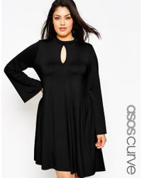 ASOS | Black Swing Dress With Keyhole Detail & Flared Sleeve | Lyst