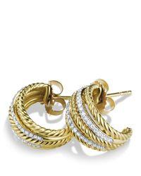 David Yurman | Metallic Lantana Earrings with Diamonds in Gold | Lyst