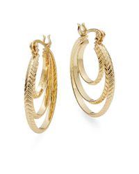 Ak Anne Klein - Metallic Multi-row Hoop Earrings - Lyst